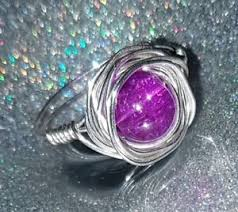 size 9 ring in uk vibrant purple wire wrap glass bead ring uk size s us size 9