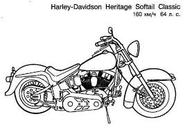harley davidson heritage softail classic motorcycle colouring page