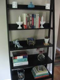 chic black painted wooden ladder shelf as book shelves also crafts