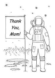 astronaut planting happy mothers sign alien planet