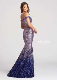 2 piece off the shoulder ombre sequin trumpet prom dress ew118106