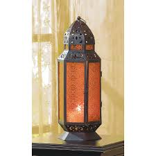 Patio Latern Tall Moroccan Style Amber Glass Candle Patio Lantern Best Decor Com