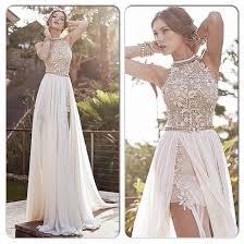 white lace dress aliexpress buy 2017 lace beaded chiffon high low