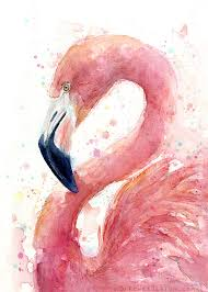 flamingo watercolor olechka design