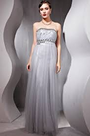 tulle modest evening discount gray long strapless prom dress
