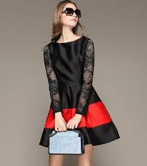 selling korean fashion women long sleeve patchwork ball gown