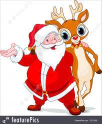 santa and his reindeer rudolf illustration