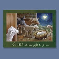 animals at manger card press christian