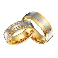 Promise Engagement And Wedding Ring Set by Luxury 18k Gold Plating Health Titanium Jewelry Engagement Wedding