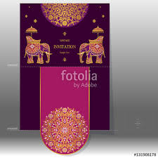 Indian Wedding Card Template Indian Wedding Invitation Card Templates With Gold Elephant