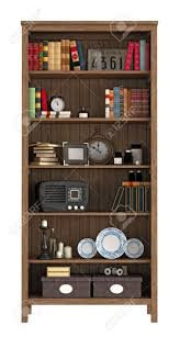 vintage bookcase with books and objects isolated on white