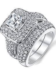 wedding rings with images Sterling silver princess cut bridal set engagement wedding ring jpg