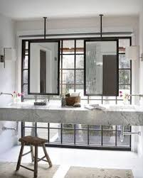 Master Bathroom Mirrors by Sleek Bathroom Design With Ceiling Mounted Hanging Mirrors Over