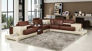 Large Leather Sofa Modern Large Leather Sofa Corner Suite New Brown Beige Ebay