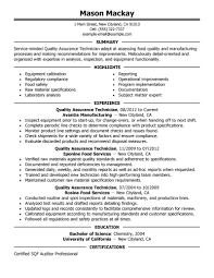 Qa Qc Engineer Resume Sample by Food Inspector Resumes Military Resumes Daily