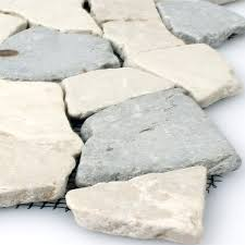marble mosaic tiles broken grey botticino tm33296