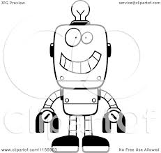 cartoon clipart of a black and white happy metal robot with a