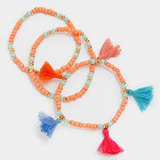 bracelet thread images Multicolored thread tassel charm beaded multi strand bracelet jpg