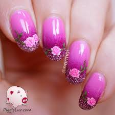 piggieluv freehand roses nail art for valentine u0027s day