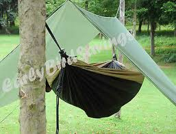 double hammock tent camping backpacking rainfly tarp army green