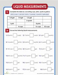 liquid measurement conversion worksheet education com