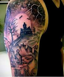 40 graveyard tattoo designs for men earthy ties left behind