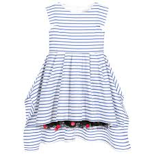 junior gaultier girls blue breton stripe cotton dress at