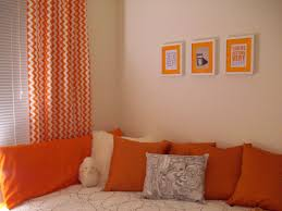 Orange And White Curtains Ornate Chevron Orange Curtains With Modern Sleeper Added