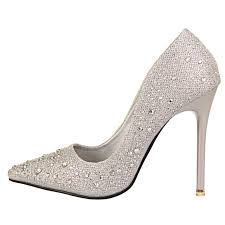 new fashion women silver rhinestone wedding shoes platform