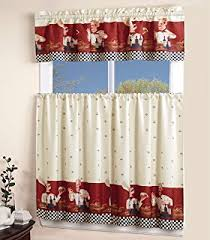 Kitchen Curtains And Valances by Amazon Com Savory Chefs Kitchen Curtains One Ruffled Valance