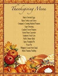 menu templates free thanksgiving thanksgiving dinner menu