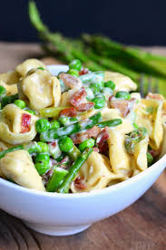 creamy tortellini with peas asparagus and bacon will cook for smiles