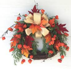 fall wreath for front door thanksgiving wreath orange lantern