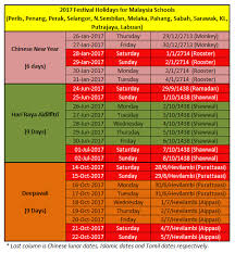 malaysia schools festival holidays in 2017 new year hari