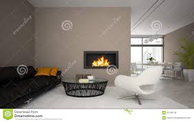 interior of modern loft with fireplace and black sofa 3d render