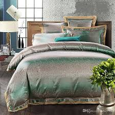 Green And White Duvet Luxury Green Jacquard Tribute Silk Queen King Size Bedding Sets 4