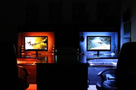 l shaped desk gaming setup desk m1tur amazing pc gaming desk back lighting improved