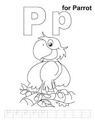 parrot coloring pages p for parrot coloring page with handwriting practice abc
