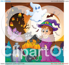 cute halloween bat clipart cartoon of a bat flying by a cute halloween witch pushing a