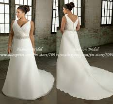 plus size wedding dress designers twd181 new design v neck a line pleated bridal wedding gown plus
