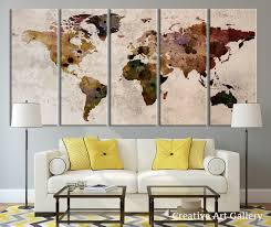 World Map Large by Amazon Com Map Art Large Canvas Print Rustic World Map Large