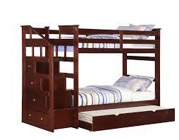 Bunk Beds Espresso Espresso Size Bunk Bed W Trundle Storage Staircase