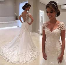 3d lace floral cap sleeve country mermaid wedding dresses 2017