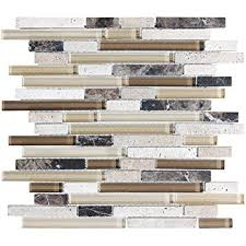 Stone Mosaic Tile Kitchen Backsplash by Sample Bliss Bamboo Stone And Glass Linear Mosaic Tiles