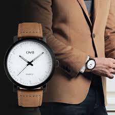 civo s brown leather band analogue quartz wrist mens 30m