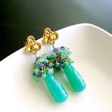 post style earrings chrysoprase sleeping beauty turquoise kyanite cluster post style