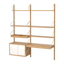 ikea bureau etagere svalnäs wall mounted workspace combination bamboo white wall