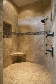 ideas for bathroom showers corner bench and beige textured shower tile ideas using black