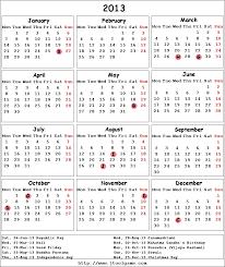 calendar 2013 printable calendar with list calendar
