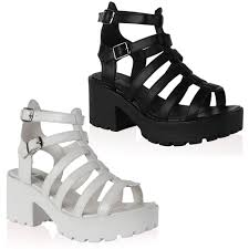 15a womens platform ladies cut out chunky wedge heel gladiator